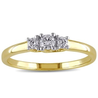 Miadora 10k Yellow Gold 1/4ct TDW Diamond Three Stone Ring
