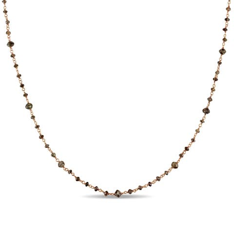 Miadora Signature Collection 14k Rose Gold 15ct TDW Brown Diamond Bead Station Necklace