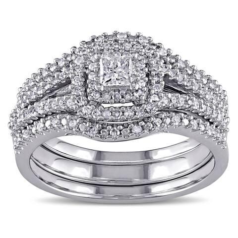 Miadora Sterling Silver 1/2ct TDW Princess and Round-Cut Diamond 3-Piece Bridal Set - White H-I - White H-I
