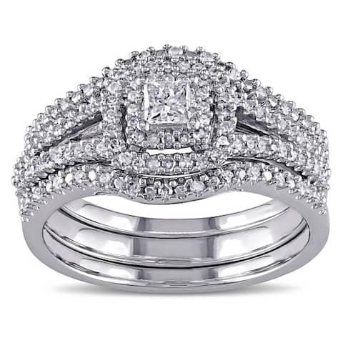 Miadora Sterling Silver 1/2ct TDW Princess and Round-Cut Diamond 3-Piece Bridal Set