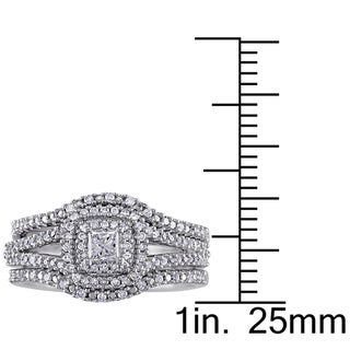 Miadora 1/2ct TDW Princess and Round-Cut Diamond Halo Split Shank Bridal Set in Sterling Silver (G-H, I2-I3)