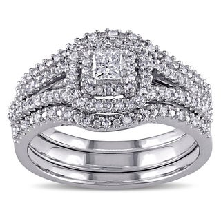 Miadora 1/2ct TDW Princess and Round-Cut Diamond Halo Split Shank Bridal Set in Sterling Silver