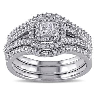 Miadora 1/2ct TDW Princess and Round-Cut Diamond Halo Split Shank Bridal Set in Sterling Silver|https://ak1.ostkcdn.com/images/products/10220505/P17341958.jpg?impolicy=medium