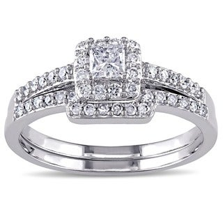 Miadora Signature Collection 10k White Gold 5/8ct TDW Diamond Bridal Ring Set