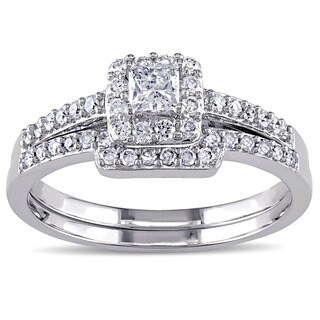 Miadora Signature Collection 10k White Gold 5/8ct TDW Diamond Bridal Ring Set