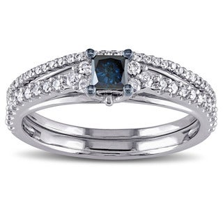 Miadora 10k White Gold 3/5ct TDW Princess-cut Blue and White Diamond Bridal Ring Set