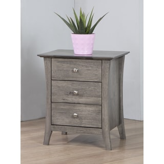 Copper Grove Vermont Stone Dark Burnt Grey 3 Drawer Bedside Table