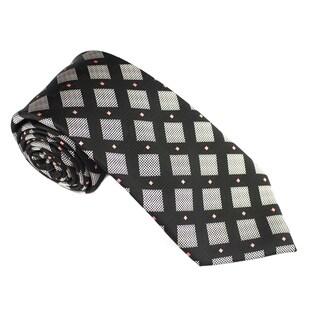 Elie Balleh Milano Italy EBNT356 Microfiber Checkered Neck Tie (Option: Black)