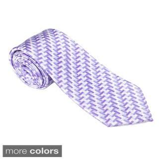 Elie Balleh Milano Italy EBNT1359 Microfiber Geometric Neck Tie