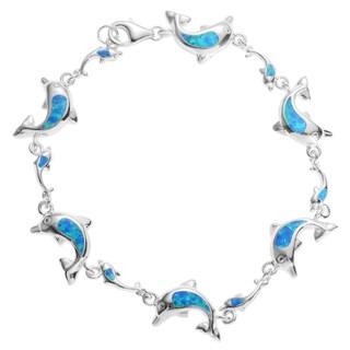 Journee Collection Sterling Silver Blue Opal Dolphin Link Bracelet