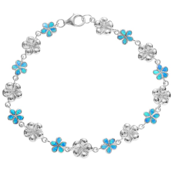 Journee Collection Sterling Silver Blue Opal Flower Link Bracelet