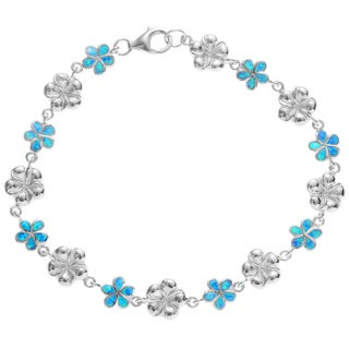 Journee Collection Sterling Silver Blue Opal Flower Link Bracelet