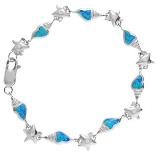 Journee Collection Sterling Silver CZ Blue Opal Sea Shell Link Bracelet