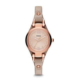 Fossil Women's Beige Leather Quartz Watch with Rose-Gold Dial
