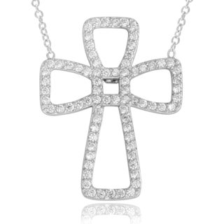 Journee Collection Sterling Silver Cubic Zirconia Cross Pendant