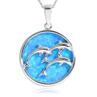 Journee Collection Sterling Silver Blue Opal Dolphin Pendant