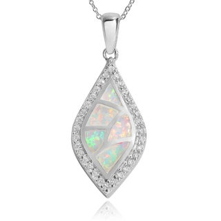 Journee Collection Sterling Silver Opal and Cubic Zirconia Marquise Pendant