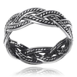 Journee Collection Sterling Silver Braided Ring Band (6mm)