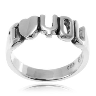 Journee Collection Sterling Silver 'I Love You' Ring Band