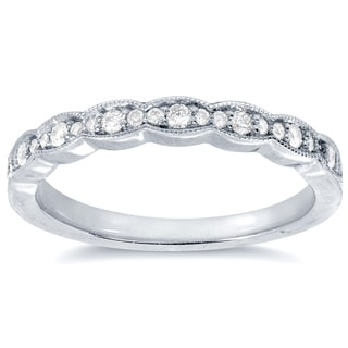 Annello by Kobelli 14k White Gold 1/6ct TDW Round-cut Diamond Wedding Band (G-H, I1-I2)