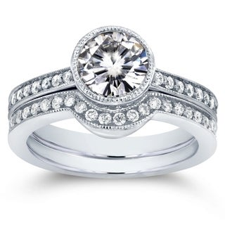 Annello by Kobelli 14k White Gold Moissanite (HI) and 1/2ct TDW Diamond Bezel Bridal Rings Set