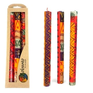 Boxed Taper Hand Painted Candles - Indaeuko Design (Set of 3) (South Africa)