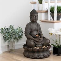 Alpine Meditating Buddha Fountain w/ LED Light, 33 Inch Tall