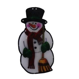 Multi 10-inch Snowman with Broom Indoor Hanging Decor