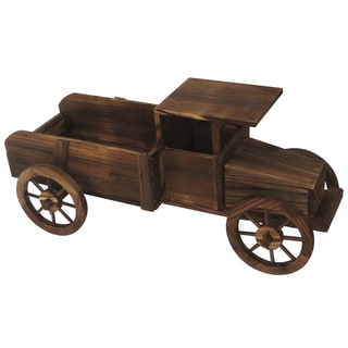 Brown 17-inch Wooden Truck Planter