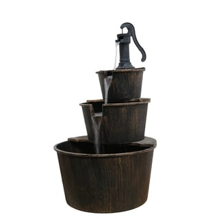 Brown 41-inch Three Tier Pump and Barrels Fountain