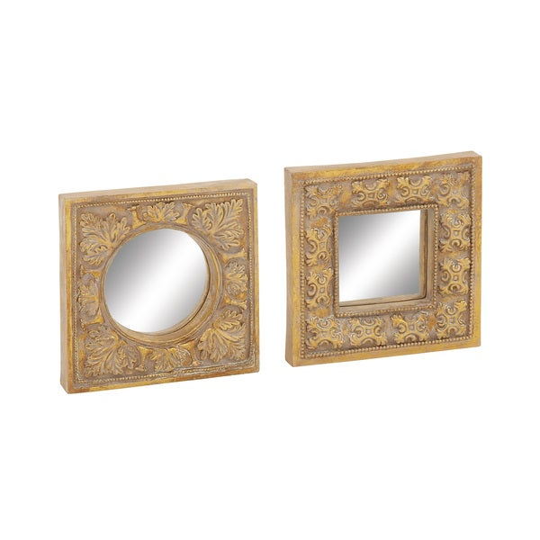 3910c1e0a82f Shop Gold Mirror Wall Decor (Set of 2) - Free Shipping On Orders Over  45 -  Overstock - 10221001