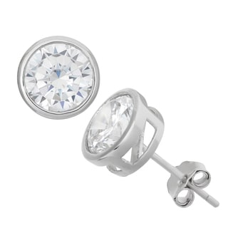 Gioelli Sterling Silver 8mm Round Bezel Stud Earrings