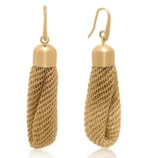 Gioelli Yellow Goldplated Italian Mesh Dangle Earrings