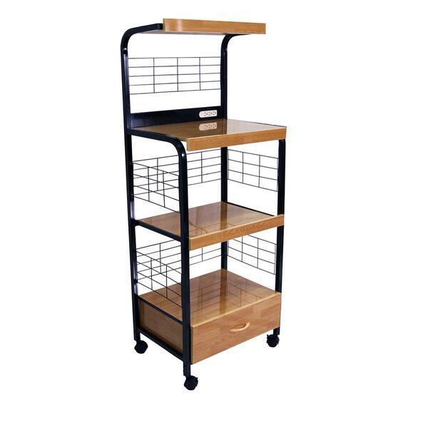Black Microwave Cart With Outlet