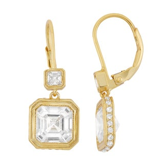 Gioelli 14k Goldplated Asscher-cut Cubic Zirconia Leverback Dangle Earrings