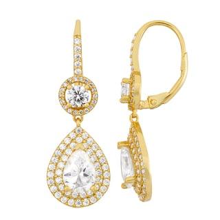 Gioelli 14k Gold Plated Silver Pear-cut Cubic Zirconia Leverback Dangle Earrings
