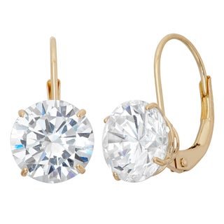 Gioelli 14k Yellow or White Gold Cubic Zirconia 8 mm Leverback Earrings