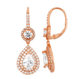 Gioelli Rose Gold Plated Silver Cubic Zirconia Pear Leverback Dangle Earrings