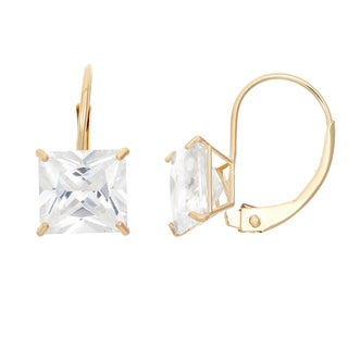Gioelli 14k Yellow Gold Princess-cut Cubic Zirconia 8 mm Leverback Earrings