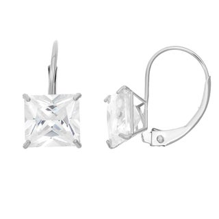 Gioelli 14k White Gold Princess-cut Cubic Zirconia 8 mm Leverback Dangle Earrings