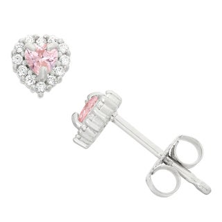 Junior Jewels Sterling Silver Prong Pink Cubic Zirconia Heart Stud Earrings