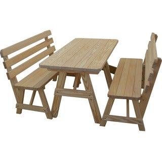 Traditional Straight Leg Pine Picnic Table with 2 Backed Benches