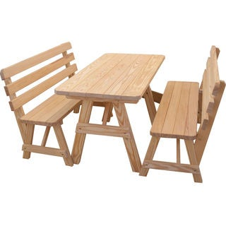 Traditional Straight Leg Cedar Picnic Table With Two Backed Benches