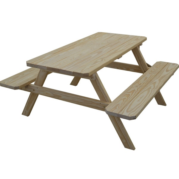 Classic pine picnic table with attached benches free shipping classic pine picnic table with attached benches watchthetrailerfo
