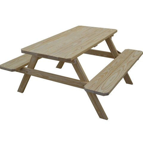 Classic Pine Picnic Table with Attached Benches