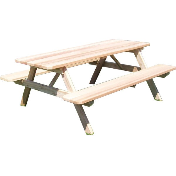 e3d576edb070 Shop Classic Cedar Picnic Table with Attached Benches - Free Shipping Today  - Overstock - 10221144