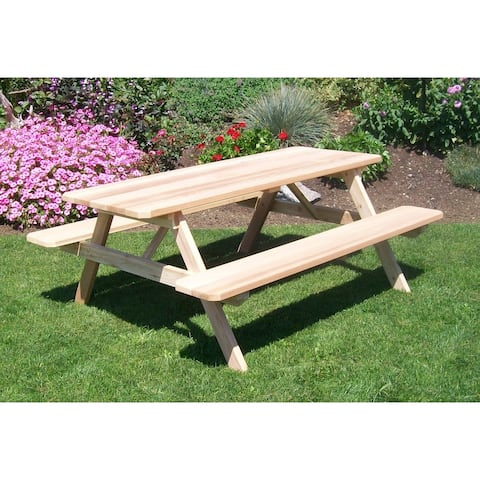 Classic Cedar Picnic Table with Attached Benches