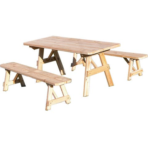 Traditional Straight Leg Cedar Picnic Table Set