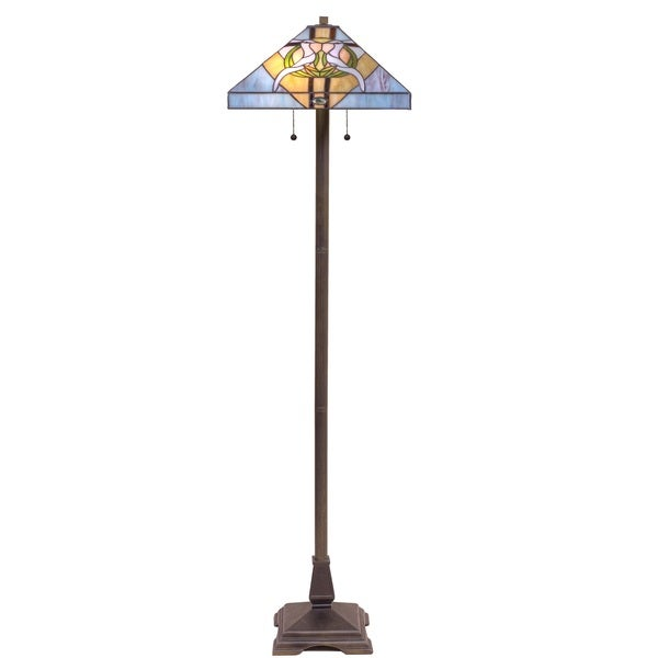 Tiffany Style Stained Gl Blue Dove Floor Lamp