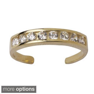 14k Gold Channel-set Round Cubic Zirconia Adjustable Toe Ring - White (2 options available)